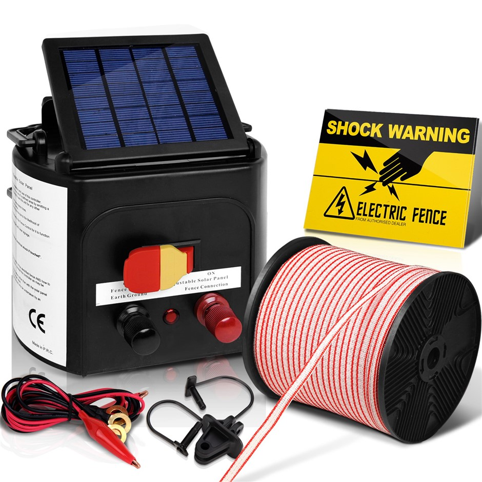 Giantz 3km Solar Electric Fence Energizer Charger 0.1J Farm Poly Tape