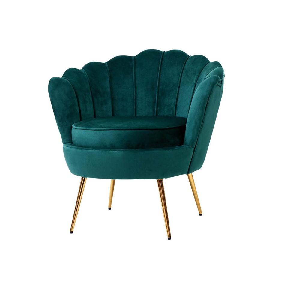 Artiss Armchair Lounge Chair Retro Single Sofa Velvet Shell Back Seat Green