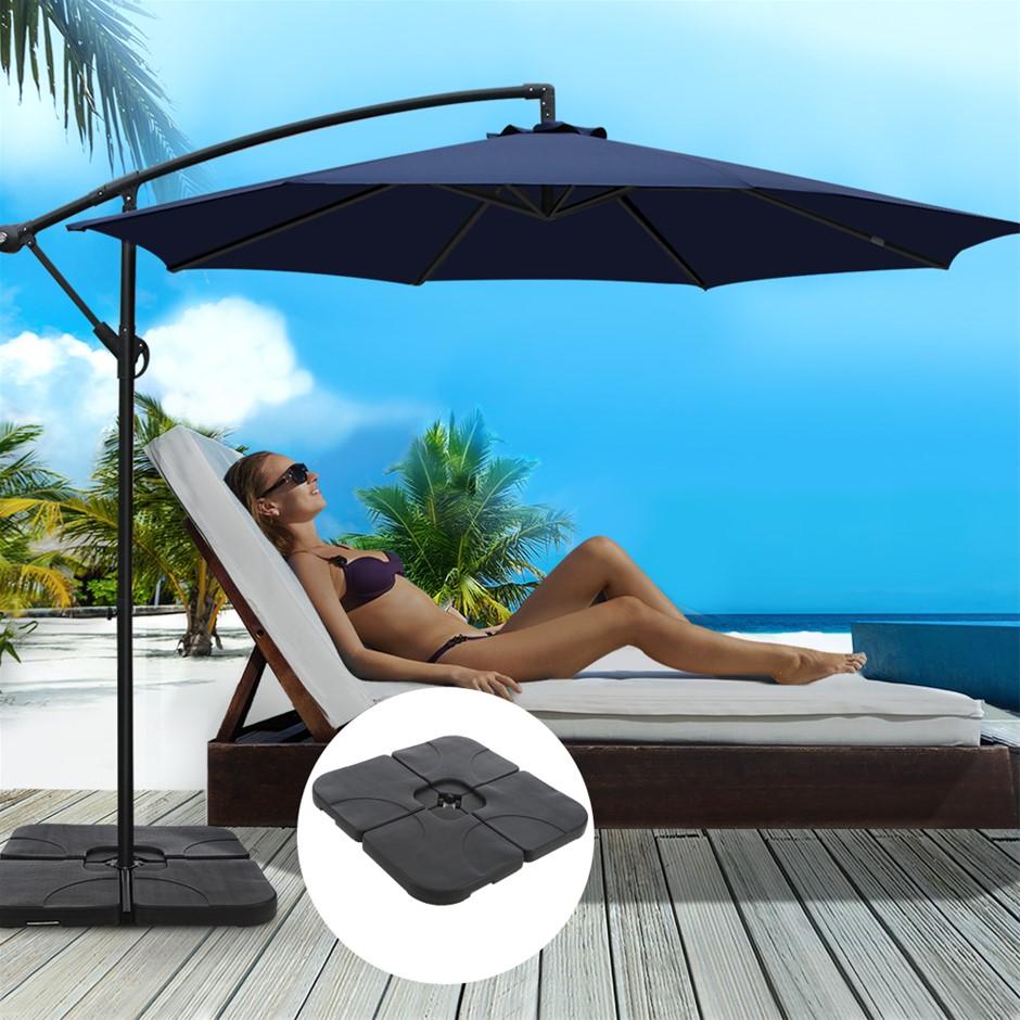 Instahut 3M Umbrella w/50x50cm Base Cantilever Sun Stand UV Garden Navy