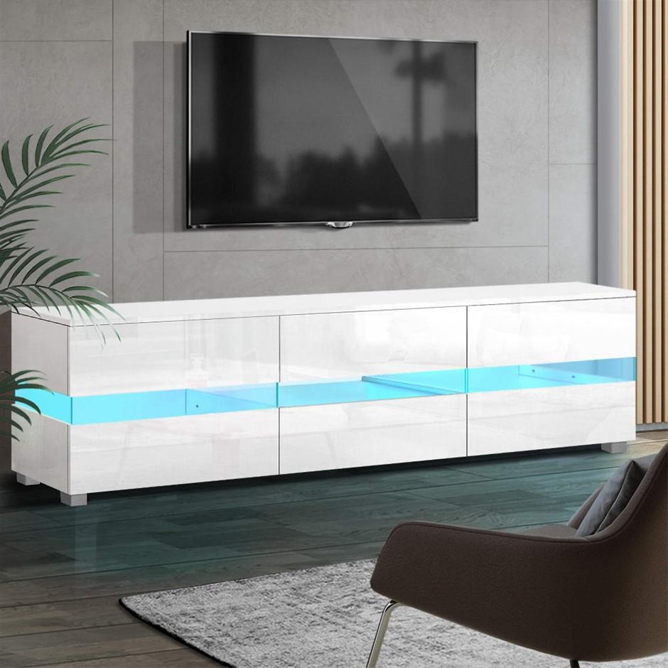 Artiss TV Cabinet Entertainment Unit Stand RGB LED Gloss 177cm White
