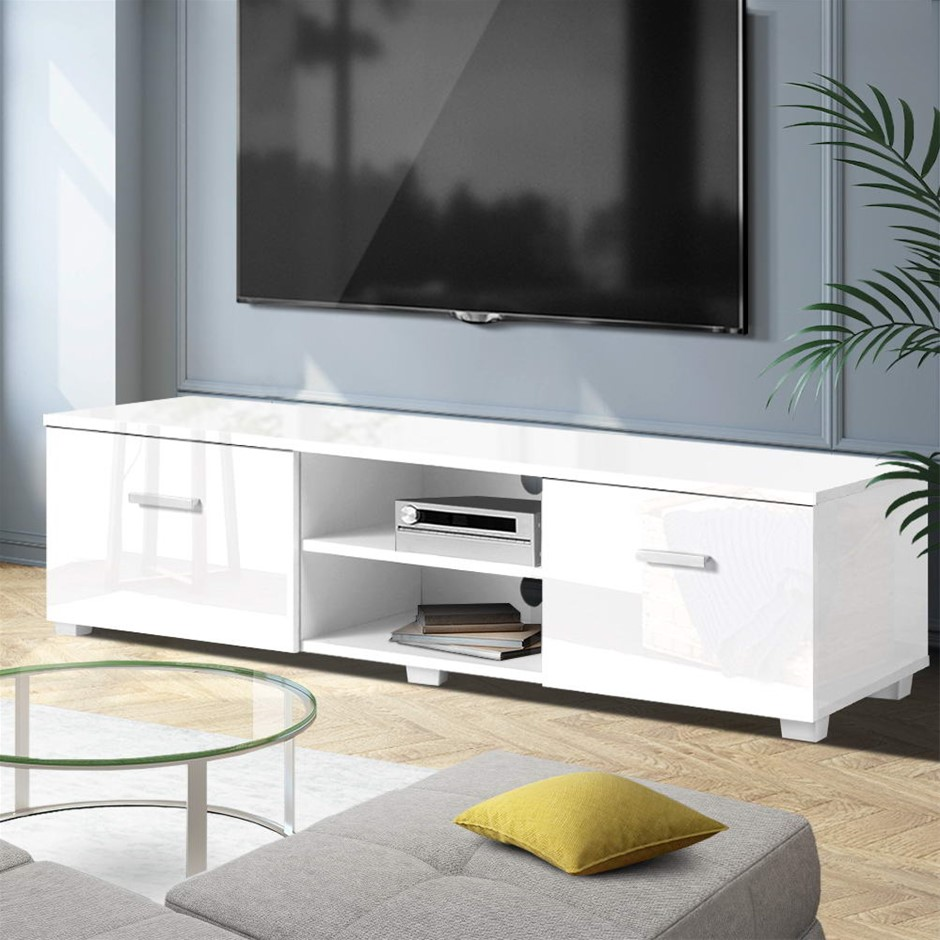 Artiss TV Cabinet Entertainment Unit Stand High Gloss Storage 140cm White