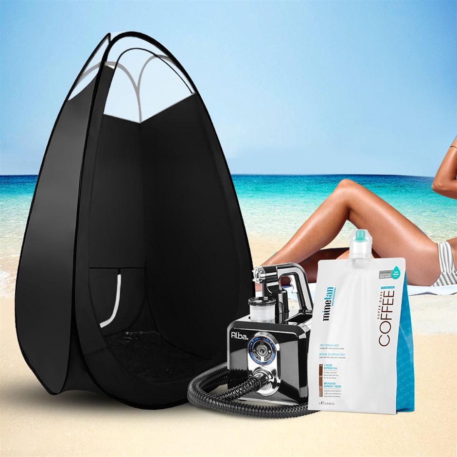 Alba. Spray Tan Machine Spray Tan Tent Kit 1L Solution Sunless HVLP Black