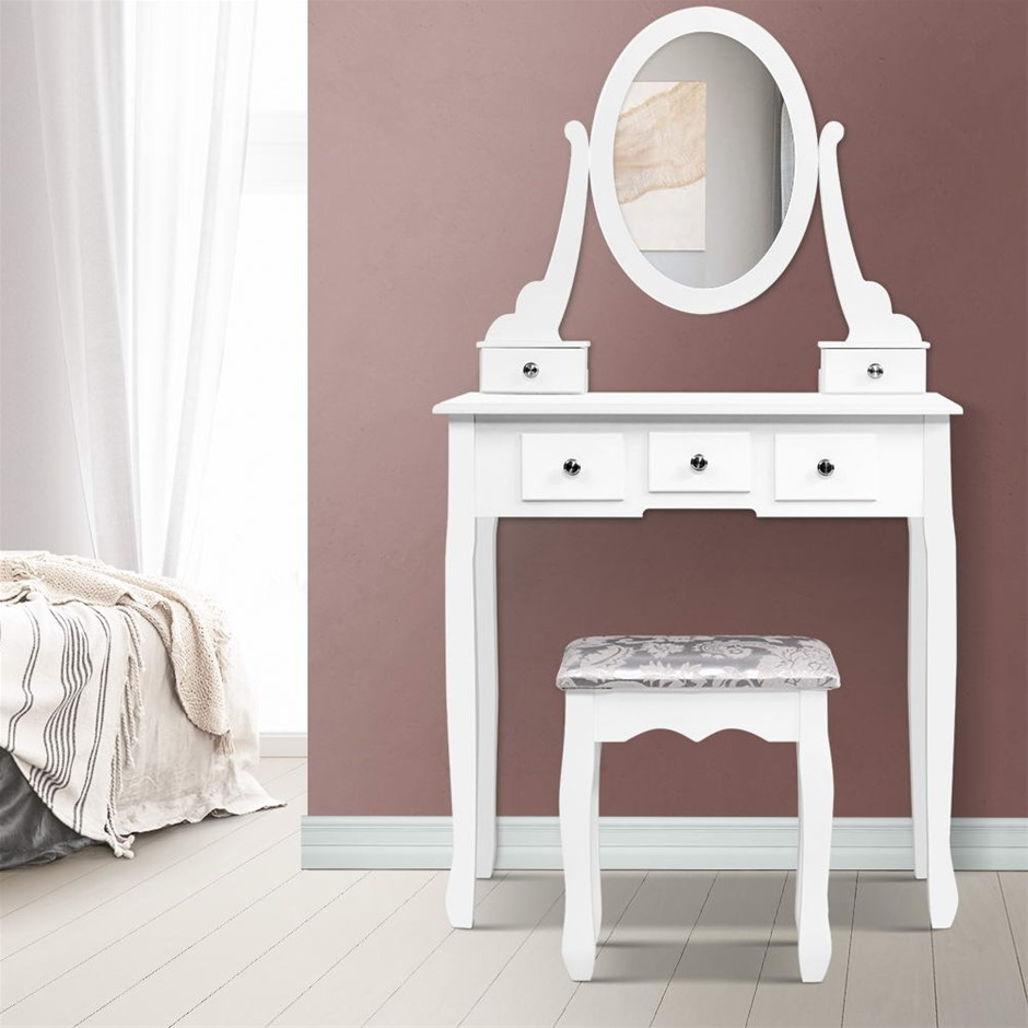 Artiss Dressing Table Stool Set Mirror Drawers Makeup Cabinet Storage White
