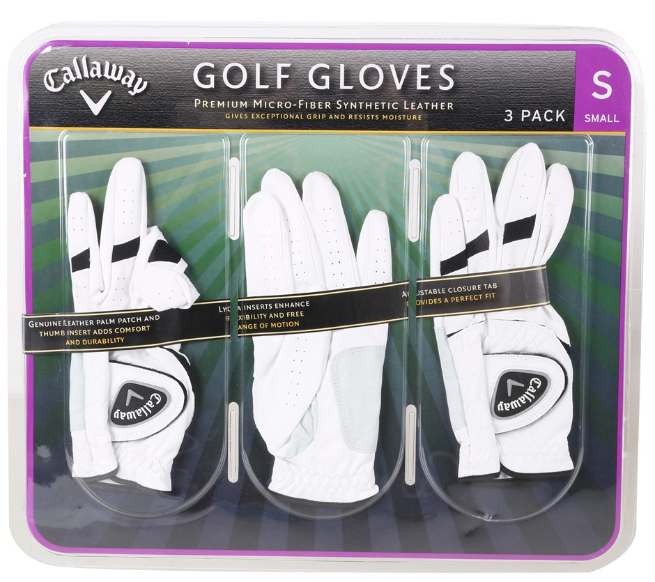 3 x CALLAWAY Golf Gloves, Size S, Micro-Fibre Synthetic Leather, White. (SN
