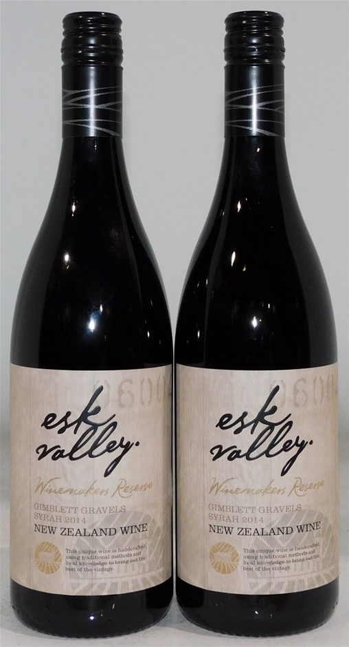Esk Valley Winemakers Reserve Syrah 2014 (2x 750mL), NZ. Cork closure.