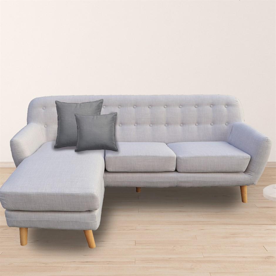 Sarantino Linen Corner Sofa Couch Lounge w/ Chaise - Dark Grey