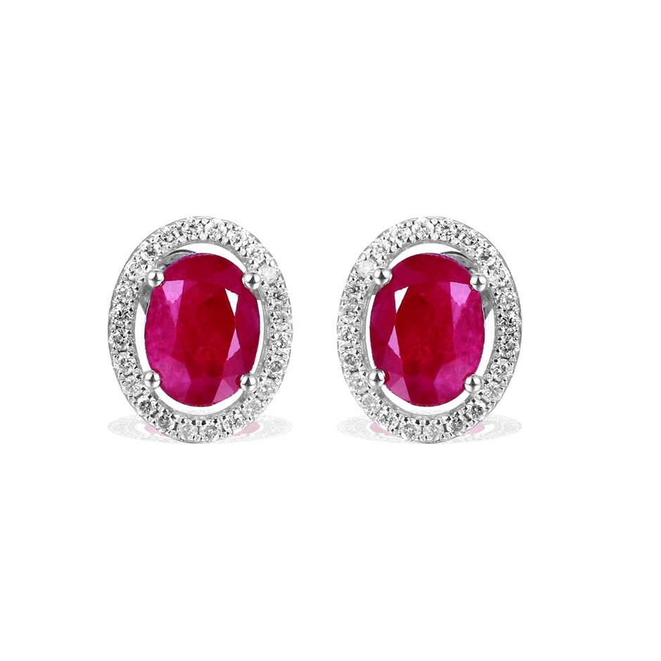 9ct White Gold, 5.03ct Ruby and Diamond Earring