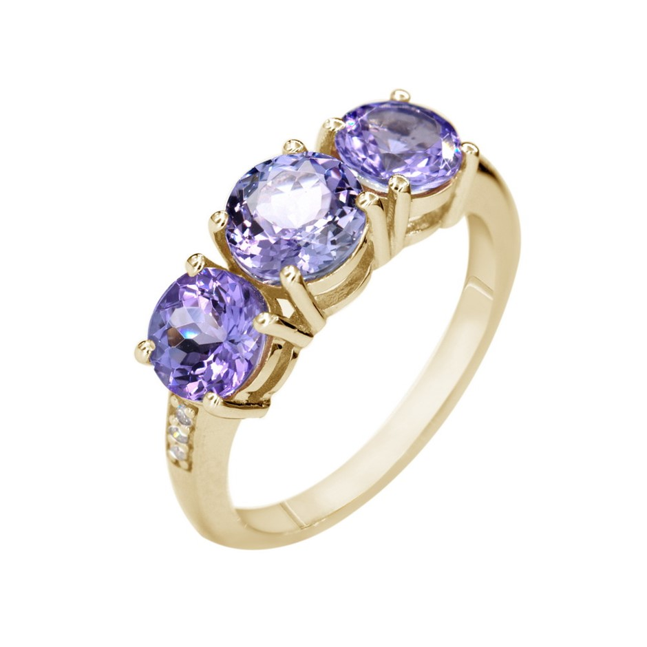 9ct Yellow Gold, 2,80ct Tanzanite and Diamond Ring
