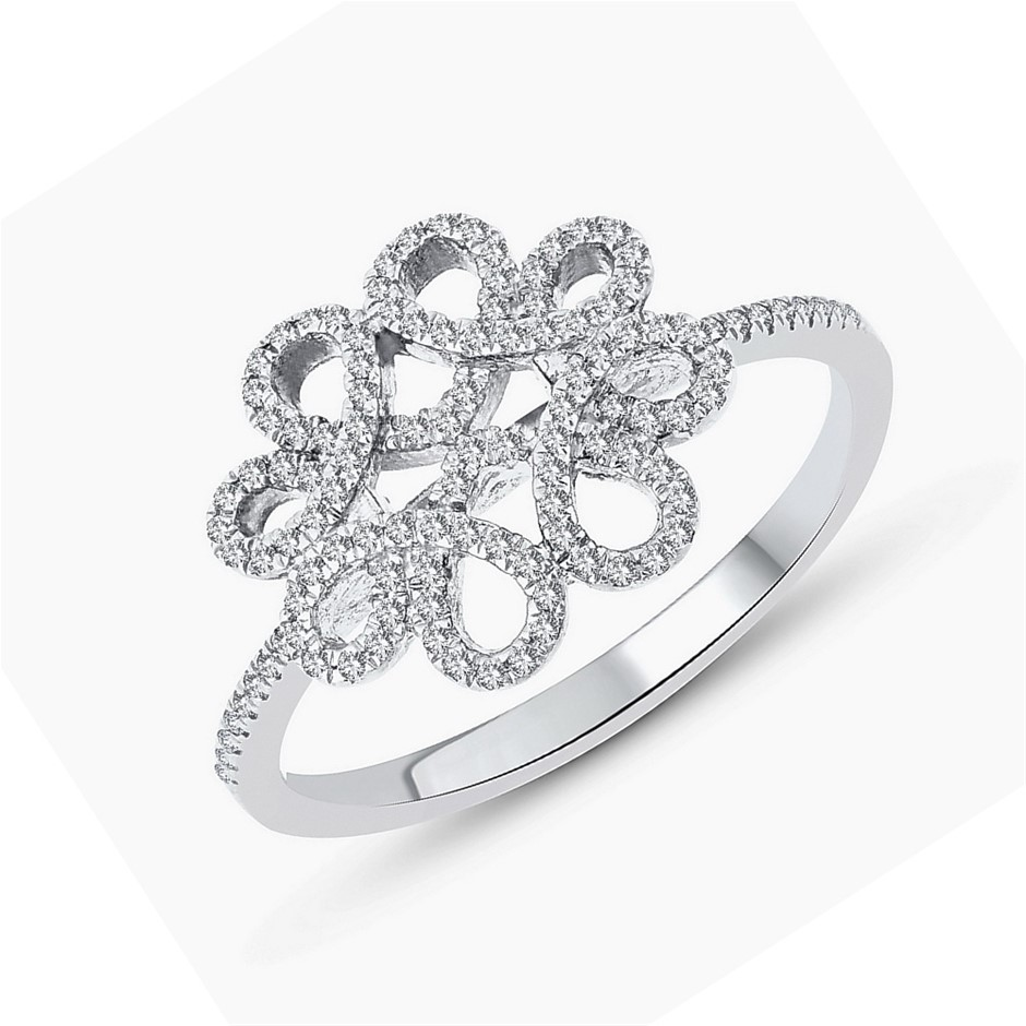 9ct White Gold, 0.18ct Diamond Ring