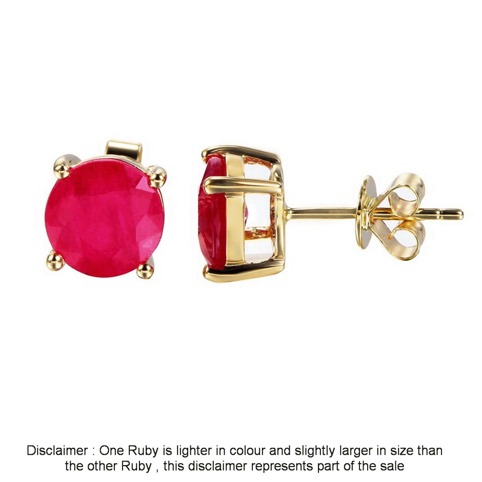 9ct yellow Gold, 3.30ct Ruby Earring