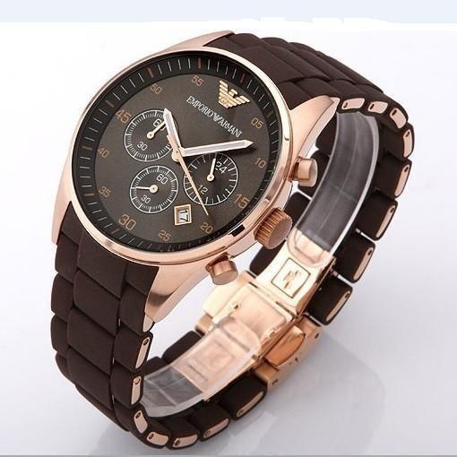 Handsome new Emporio Armani rose gold men's chronograph watch.