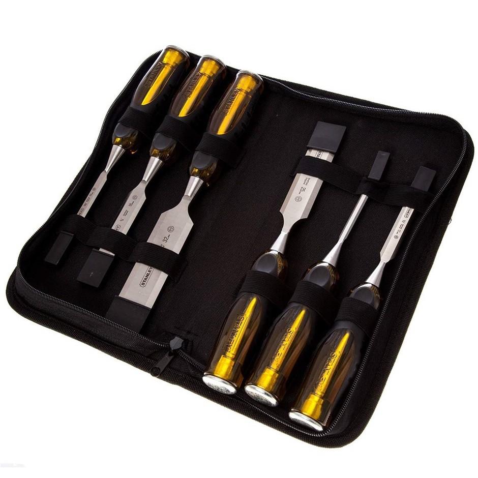 STANLEY 6pc Thru Tang Chisel Set 6mm, 10mm, 12mm, 18mm, 25mm, 32mm in Zip W