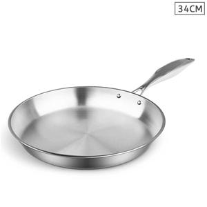 SOGA Stainless Steel Fry Pan 34cm Top Gr