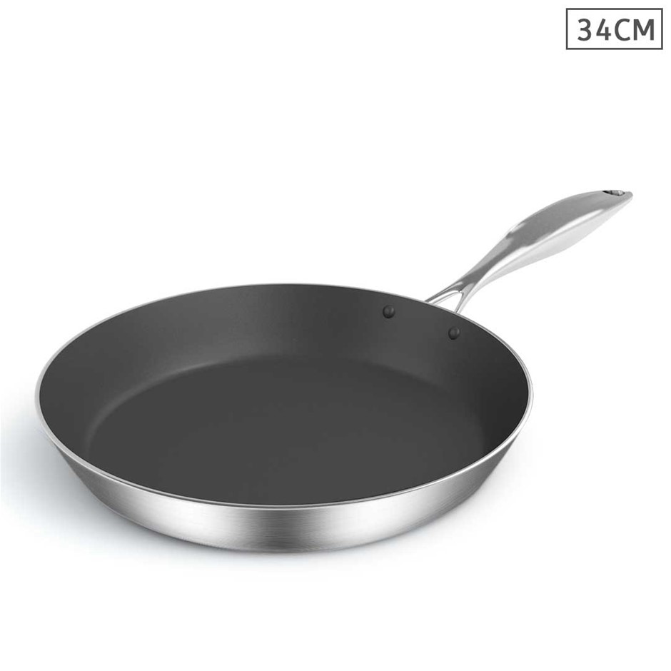 SOGA Stainless Steel Fry Pan 34cm Frying Pan Induction Non Stick Interior