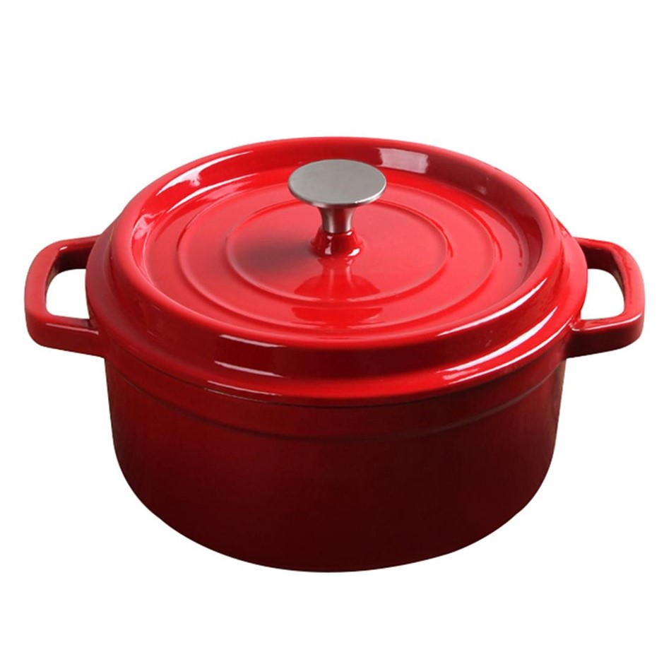 SOGA Cast Iron 22cm Enamel Porcelain Stew pot Casserole Stew & Lid 2.7L Red