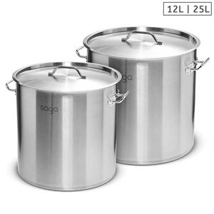 SOGA Stock Pot 12L 25L Top Grade Thick S