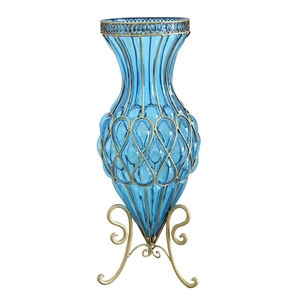 SOGA 65cm Blue Glass Tall Floor Vase wit