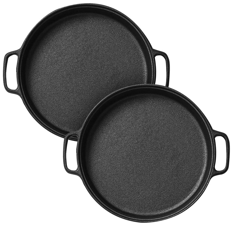 SOGA 2x Cast Iron 30cm Frying Pan Skillet Non-stick Coating Steak Sizzle