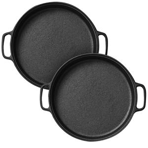 SOGA 2x Cast Iron 35cm Frying Pan Skille
