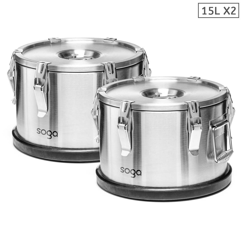 SOGA 2x 304 30*23cm Stainless Steel Insulated Food Carrier Food Warmer