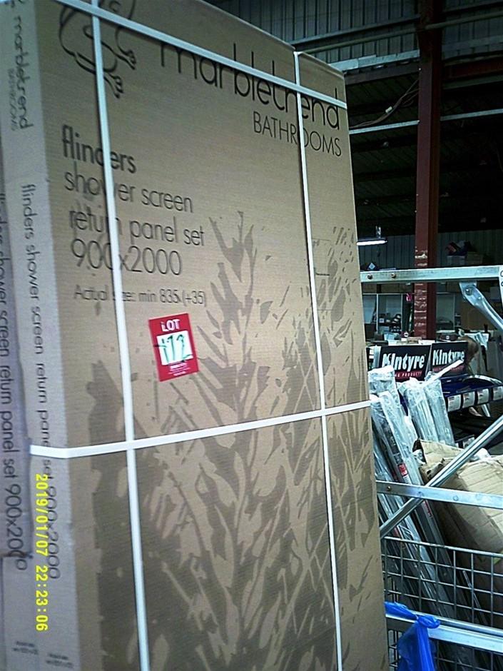 Marbletrend Flinders Shower Screen Return Panel Set. 900mm x 2000mm New in