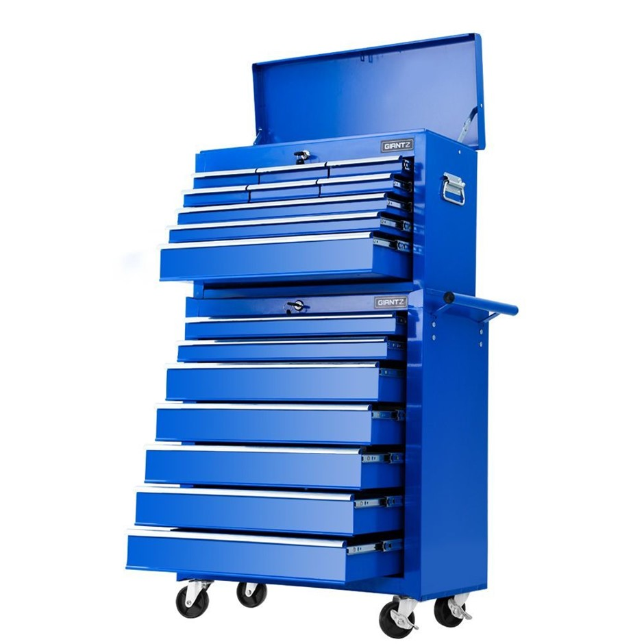 Giantz Tool Chest and Trolley Box Cabinet 16 Drawers Cart Storage Blue