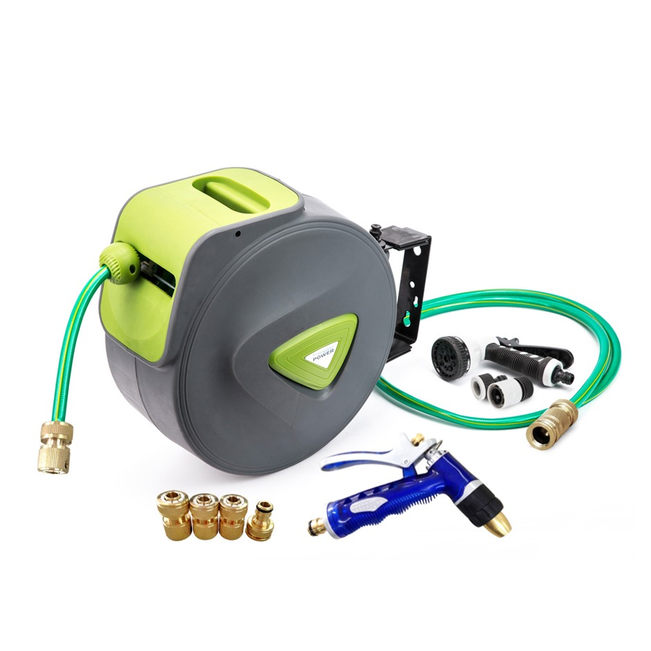 30M Water Hose Reel + Brass Gun