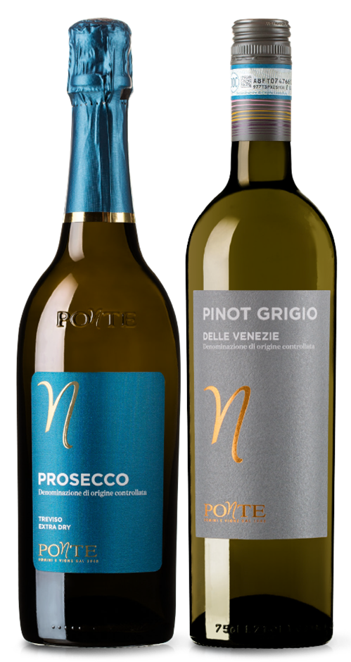 Ponte Prosecco DOC NV and Pinot Grigio mixed pack (6x 750mL). Italy.