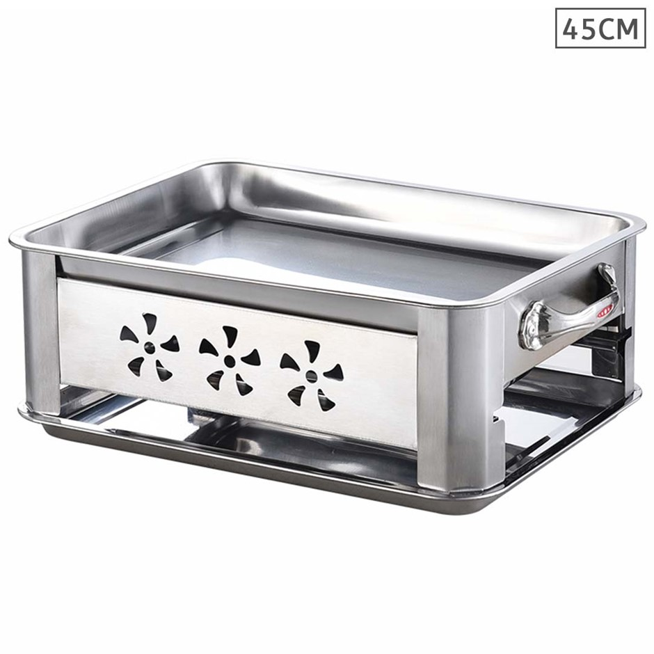 45cm Portable Stainless Steel Outdoor Chafing Dish BBQ Fish Stove Grill
