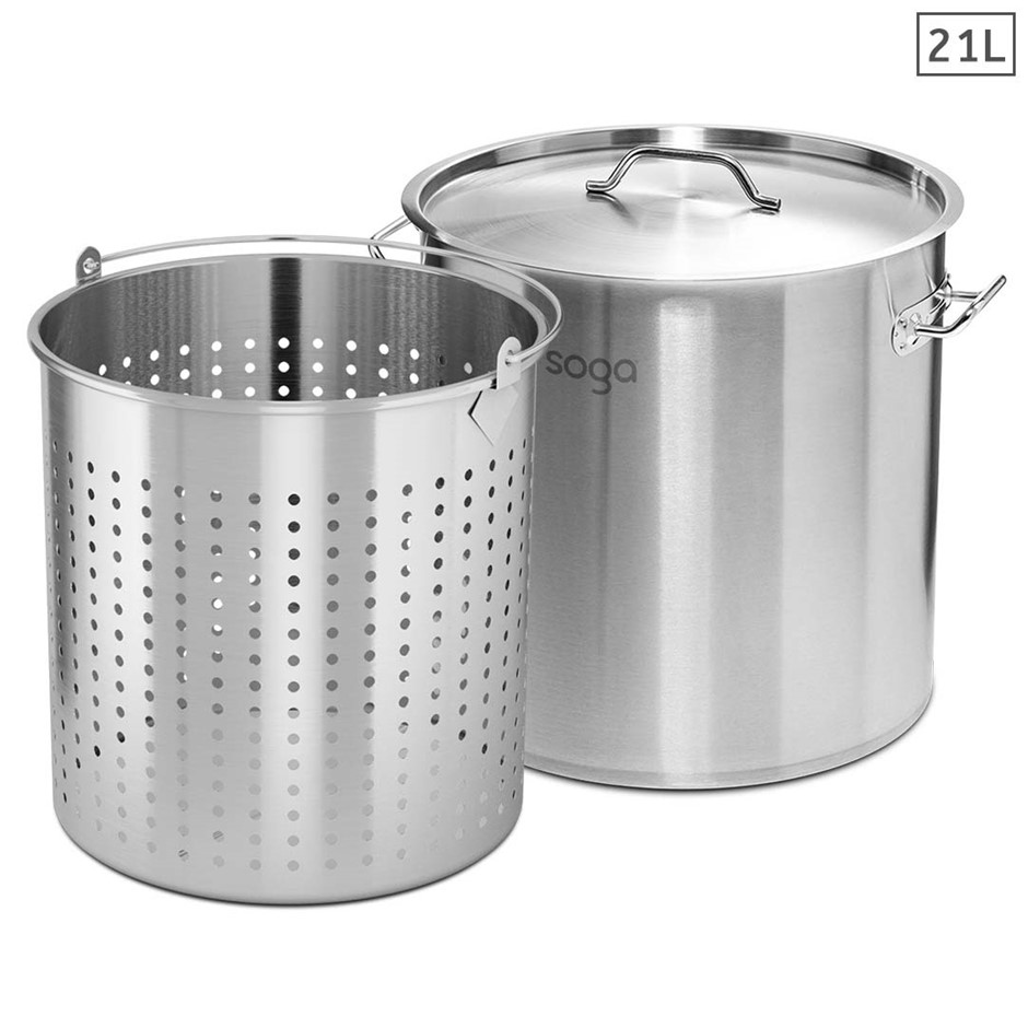 SOGA 21L 18/10 Stainless Steel Stockpot w/ Stock Pot Basket Pasta Strainer
