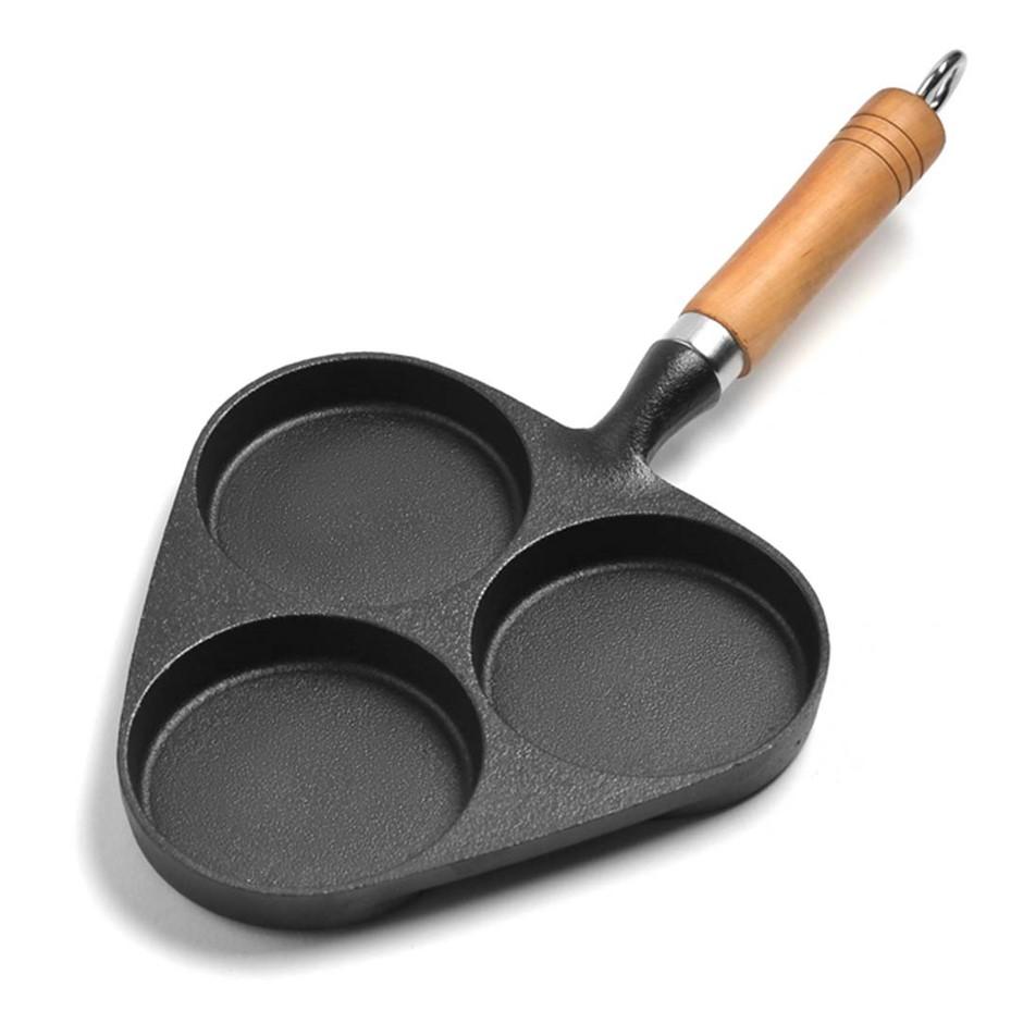 SOGA 3 Mold Cast Iron Breakfast Fried Egg Pancake Omelette Nonstick Fry Pan