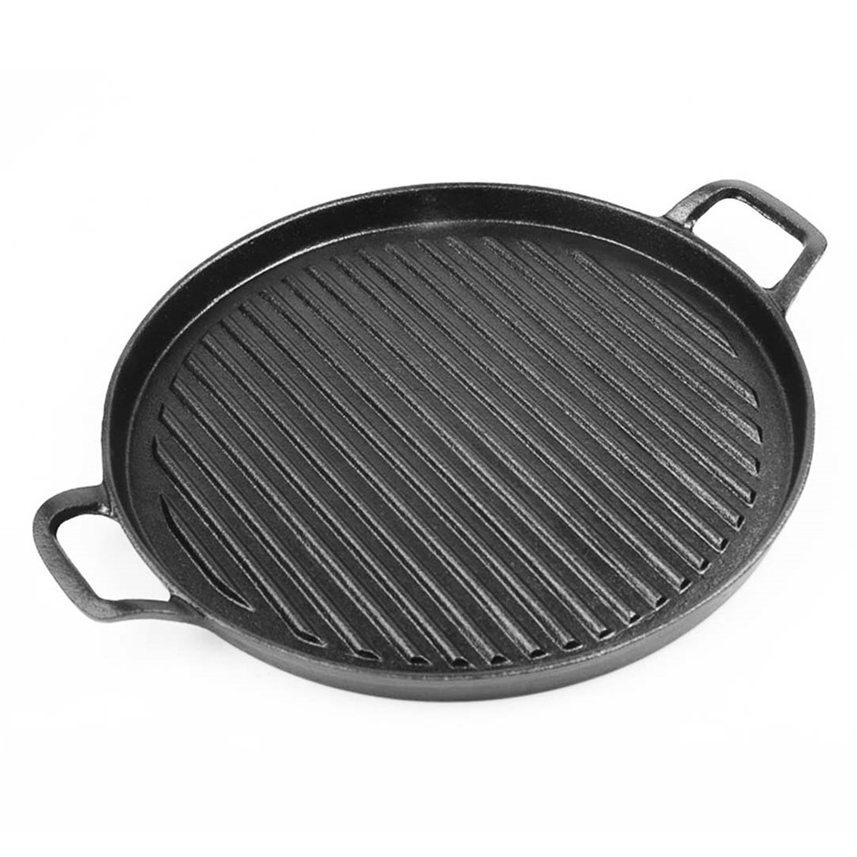 SOGA 30cm Ribbed Cast Iron Frying Pan Skillet Non-stick Sizzle Platter