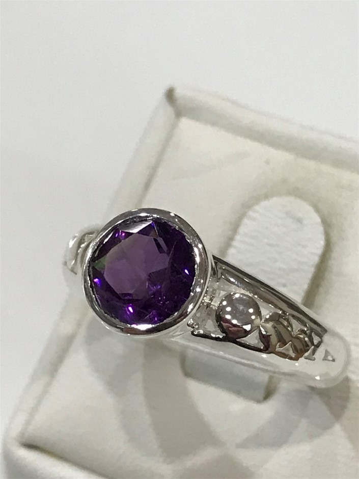Truly Magnificent 1.25ct Amethyst Ring Size P 1/2 (8)