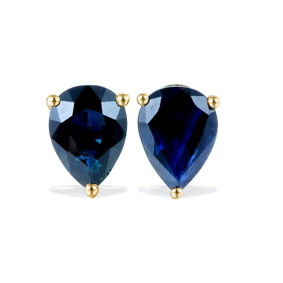9ct Yellow Gold, 2.75ct Blue Sapphire Earring