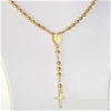 "16"" Gold Plated Rosary Bead Necklace"