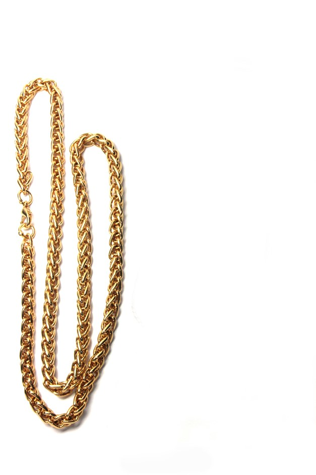 Ladies necklace gold plated rope style chain, length 50cm