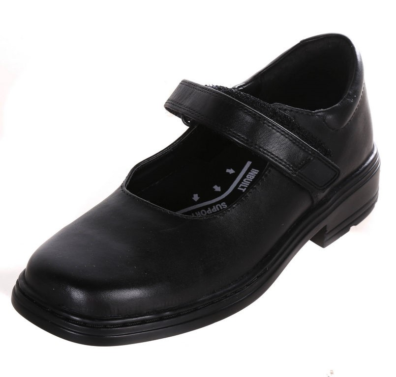 CLARKS Girls Imagine Leather School Shoes, Black, Size 2 E. Buyers Note - D