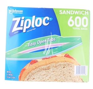 ZIPLOC Resealable Sandwich, 600 Total Ba