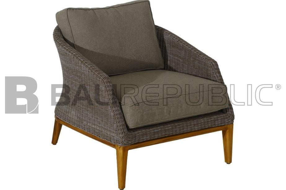 1 x SANUR Outdoor Armchair Sofa with White Cushions by Bali Republic