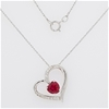 Sterling Silver Ruby and Zirconia heart pendant on chain
