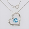 Sterling Silver Zirconia heart pendant on chain