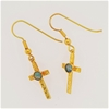 Yellow Gold Plated Sterling Silver Opal crucifix earrings