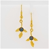 Yellow Gold Plated Sterling Silver Opal leaf earrings