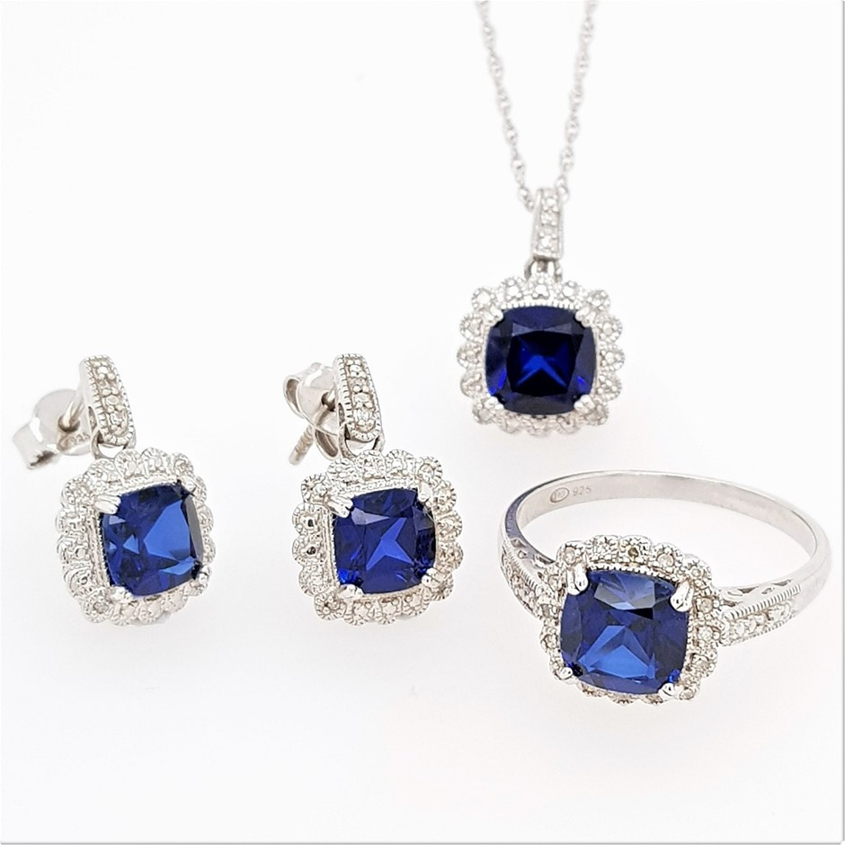 Sterling Silver Sapphire and Diamond ring, necklace and earring set