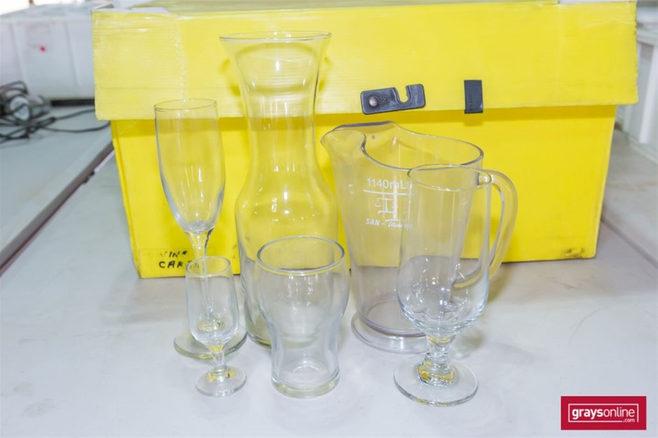 Qty assorted Drinking Glasses and clear plastic Jugs