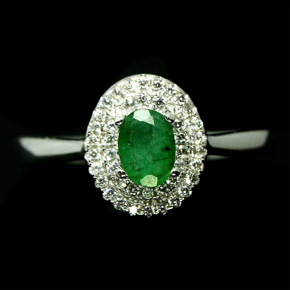 Striking Genuine Emerald Solitaire Ring