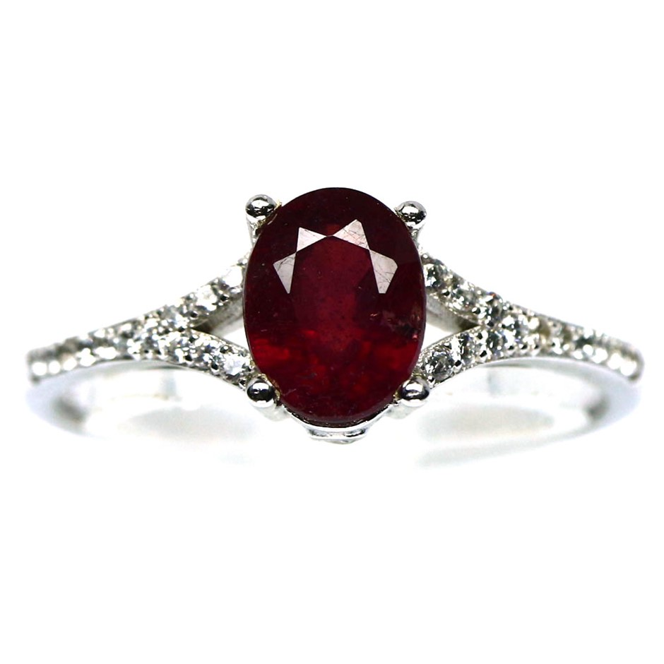 Gorgeous Genuine Blood Red Ruby Solitaire Ring.