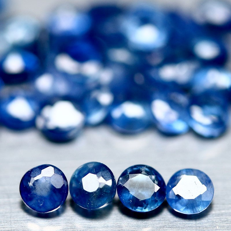 6.48ct. Genuine round Facet Blue Sapphire Lot 43 Pieces