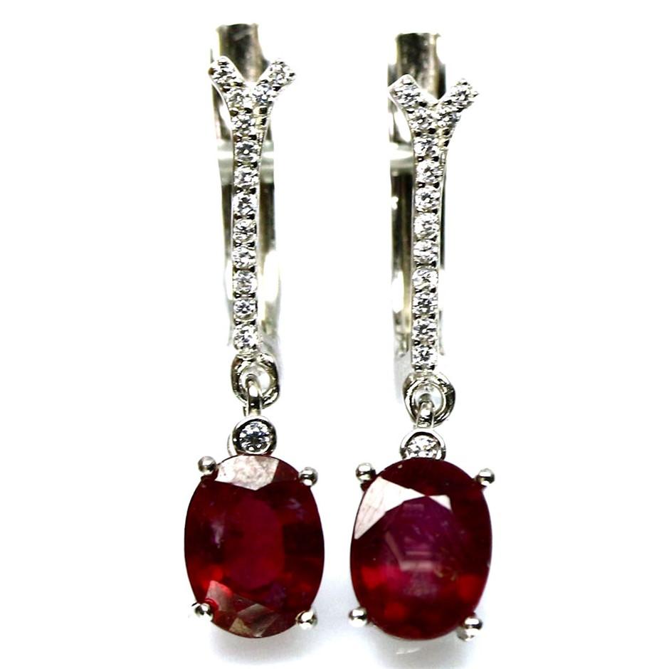 Gorgeous Genuine Blood Red Ruby Huggie Earrings.