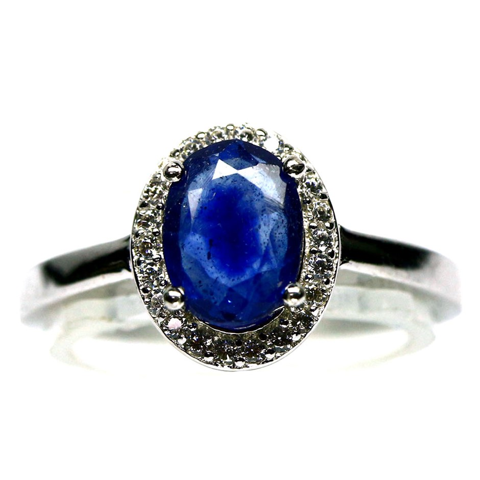 Striking Genuine Sapphire Solitaire Ring